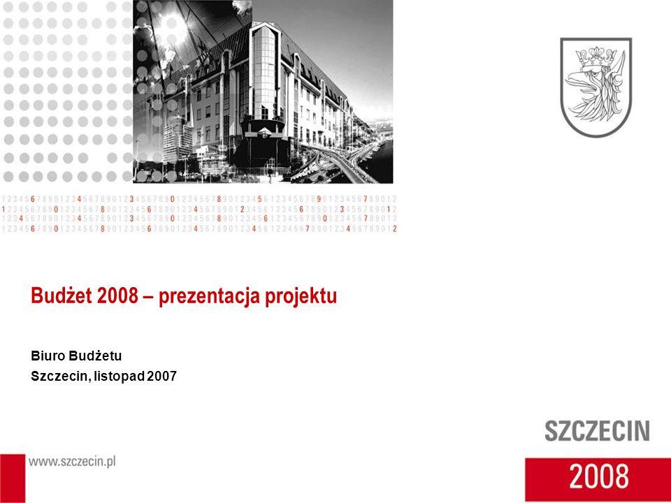Budżet 2008 – prezentacja projektu Biuro Budżetu Szczecin, listopad 2007