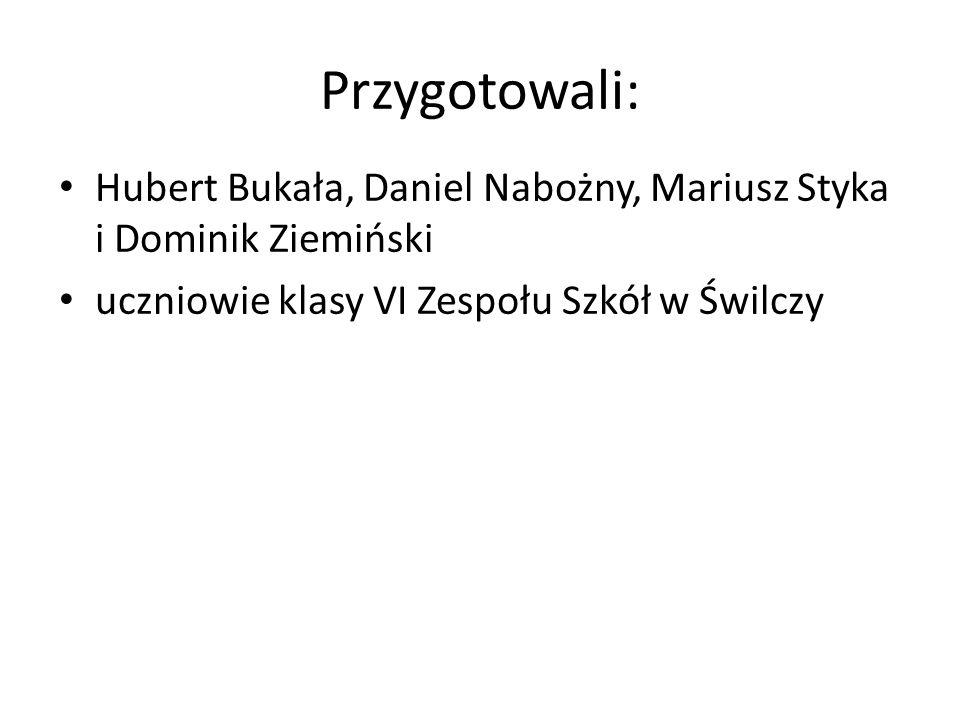 Przygotowali: Hubert Bukała, Daniel Nabożny, Mariusz Styka i Dominik Ziemiński uczniowie klasy VI Zespołu Szkół w Świlczy
