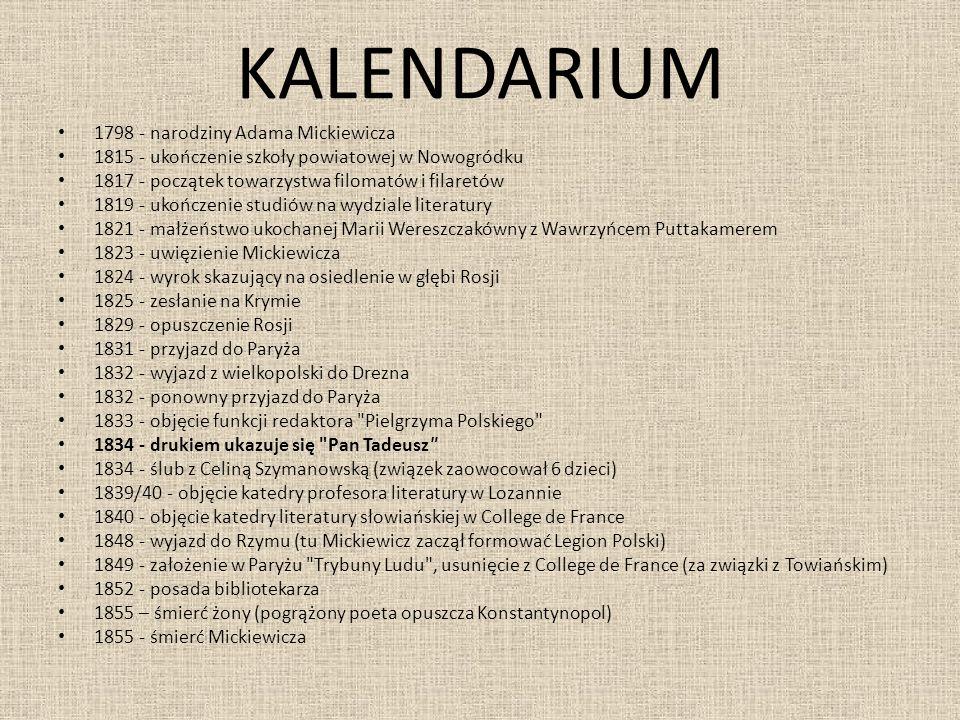 KALENDARIUM 1798 - narodziny Adama Mickiewicza 1815 - ukończenie szkoły powiatowej w Nowogródku 1817 - początek towarzystwa filomatów i filaretów 1819
