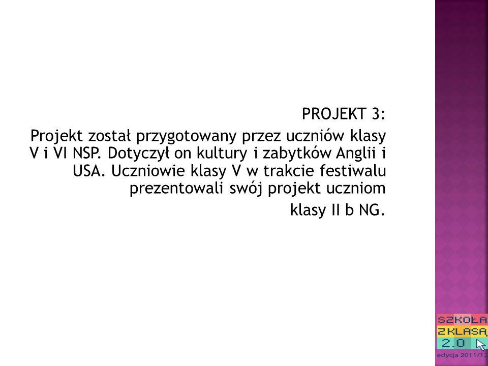 PROJEKT 3: Projekt został przygotowany przez uczniów klasy V i VI NSP.