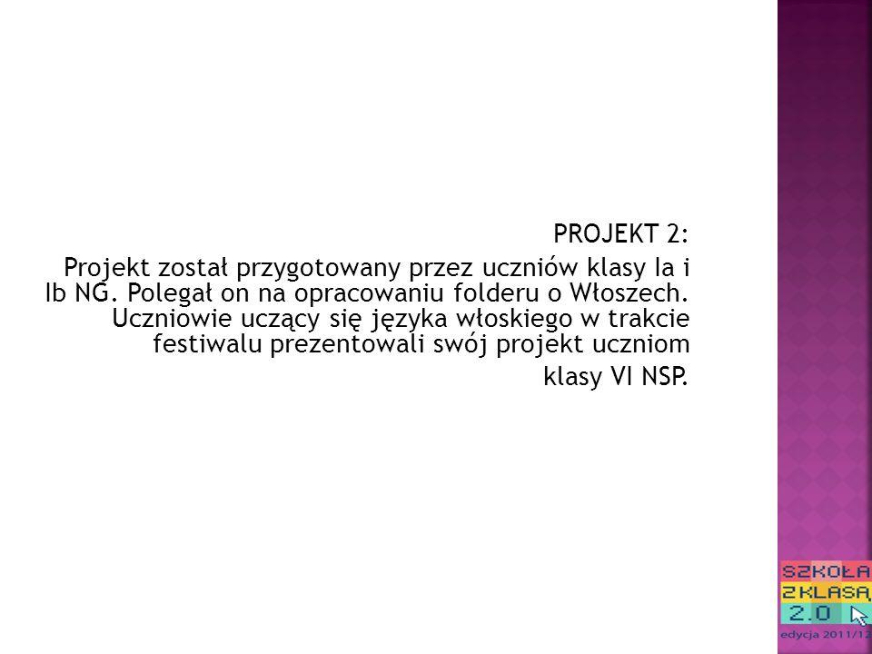 PROJEKT 2: Projekt został przygotowany przez uczniów klasy Ia i Ib NG.