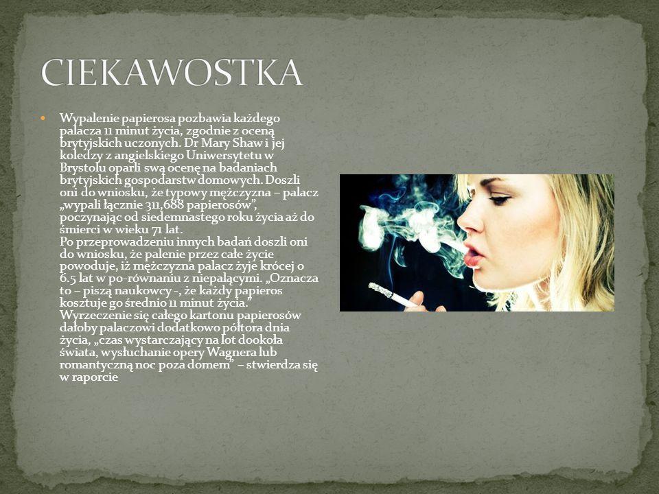 Wypalenie papierosa pozbawia każdego palacza 11 minut życia, zgodnie z oceną brytyjskich uczonych. Dr Mary Shaw i jej koledzy z angielskiego Uniwersyt
