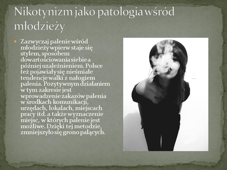Zazwyczaj palenie wśród młodzieży wpierw staje się stylem, sposobem dowartościowania siebie a później uzależnieniem. Polsce też pojawiały się nieśmiał