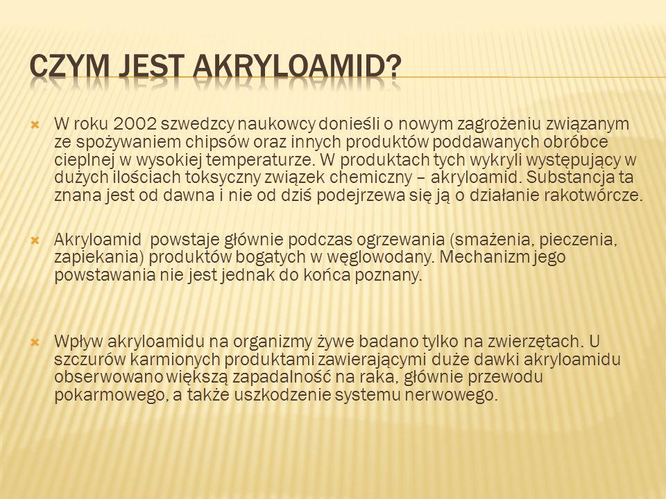 W roku 2002 szwedzcy naukowcy donieśli o nowym zagrożeniu związanym ze spożywaniem chipsów oraz innych produktów poddawanych obróbce cieplnej w wysoki