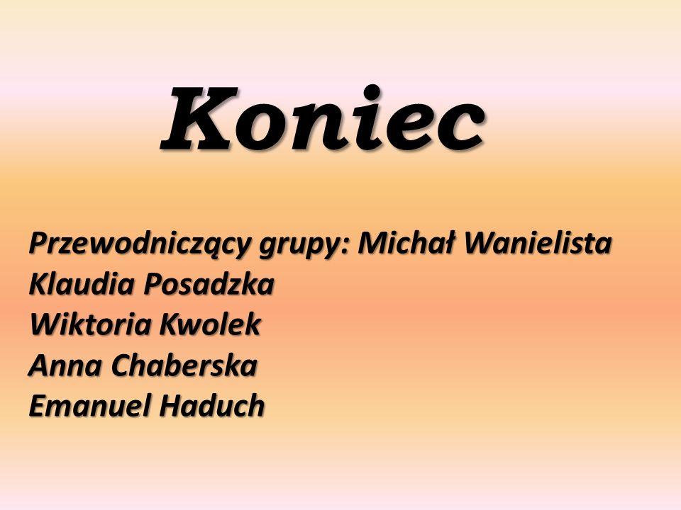 Koniec Przewodniczący grupy: Michał Wanielista Klaudia Posadzka Wiktoria Kwolek Anna Chaberska Emanuel Haduch