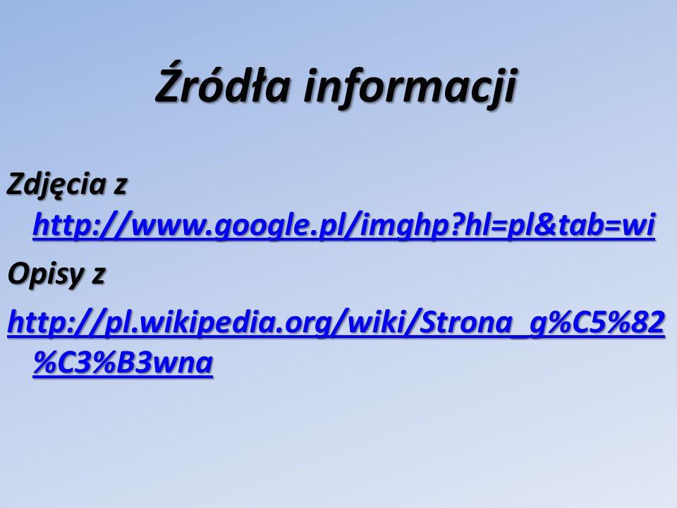 Źródła informacji Zdjęcia z http://www.google.pl/imghp?hl=pl&tab=wi http://www.google.pl/imghp?hl=pl&tab=wi Opisy z http://pl.wikipedia.org/wiki/Stron
