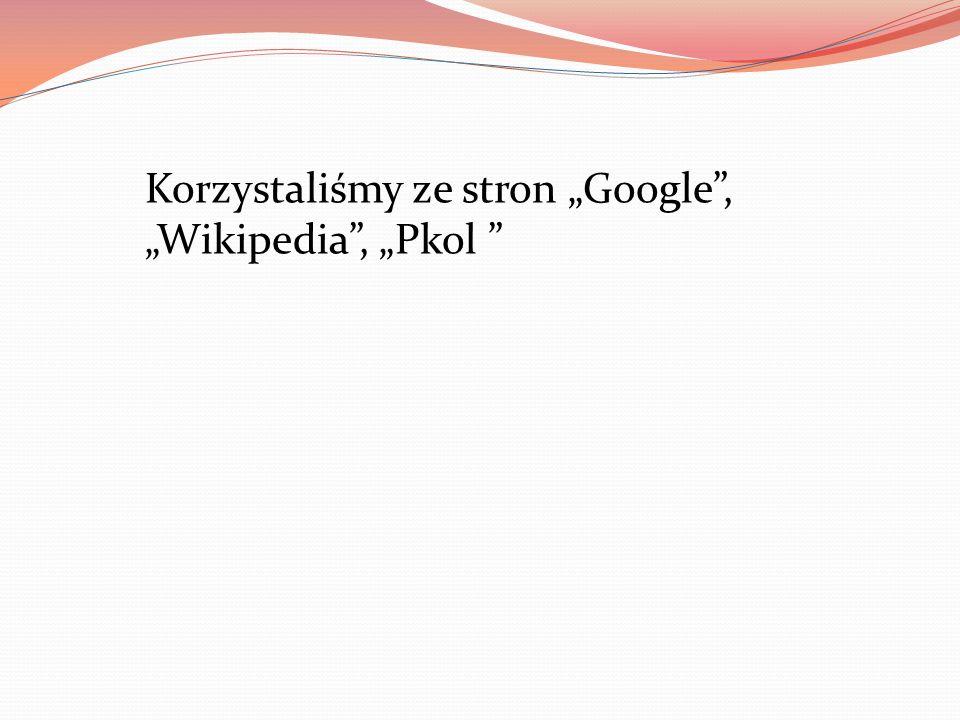 Korzystaliśmy ze stron Google, Wikipedia, Pkol