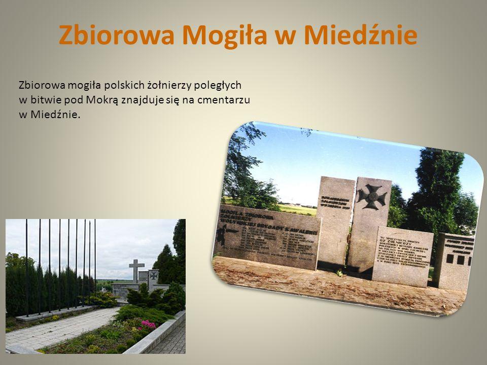 Zbiorowa mogiła polskich żołnierzy poległych w bitwie pod Mokrą znajduje się na cmentarzu w Miedźnie. Zbiorowa Mogiła w Miedźnie