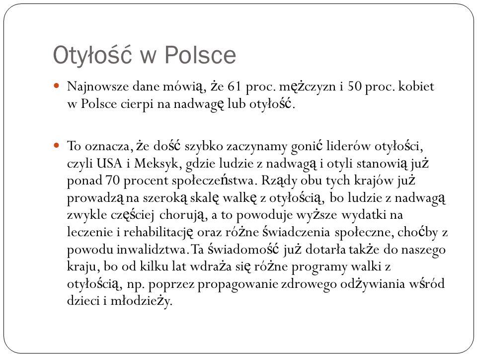 Otyłość w Polsce Najnowsze dane mówi ą, ż e 61 proc. m ęż czyzn i 50 proc. kobiet w Polsce cierpi na nadwag ę lub otyło ść. To oznacza, ż e do ść szyb