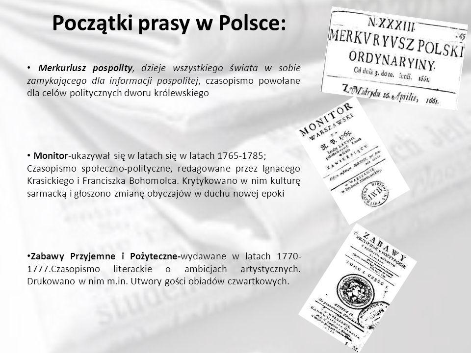 Rozwój polskiej prasy: W połowie XIX wieku ukształtował się nowy, bliższy dzisiejszemu charakter prasy pod wpływem społecznych ruchów rewolucyjnych w Europie, których początkiem była Wiosna Ludów w 1848 r.