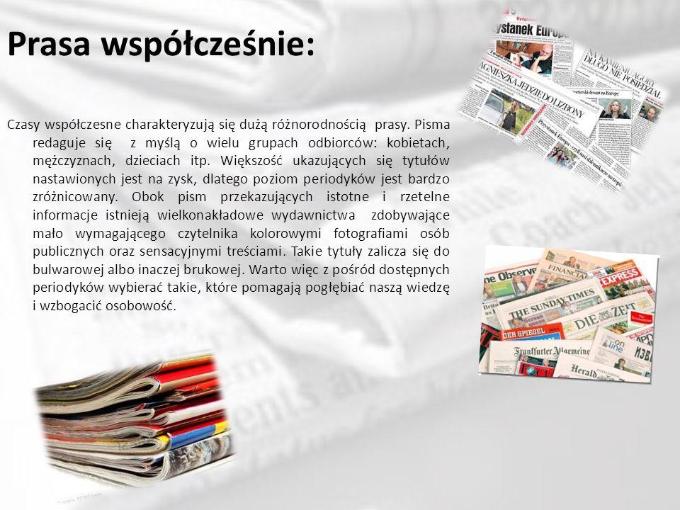 Typy prasy: Prasę ogólnie możemy podzielić na kilka typów.