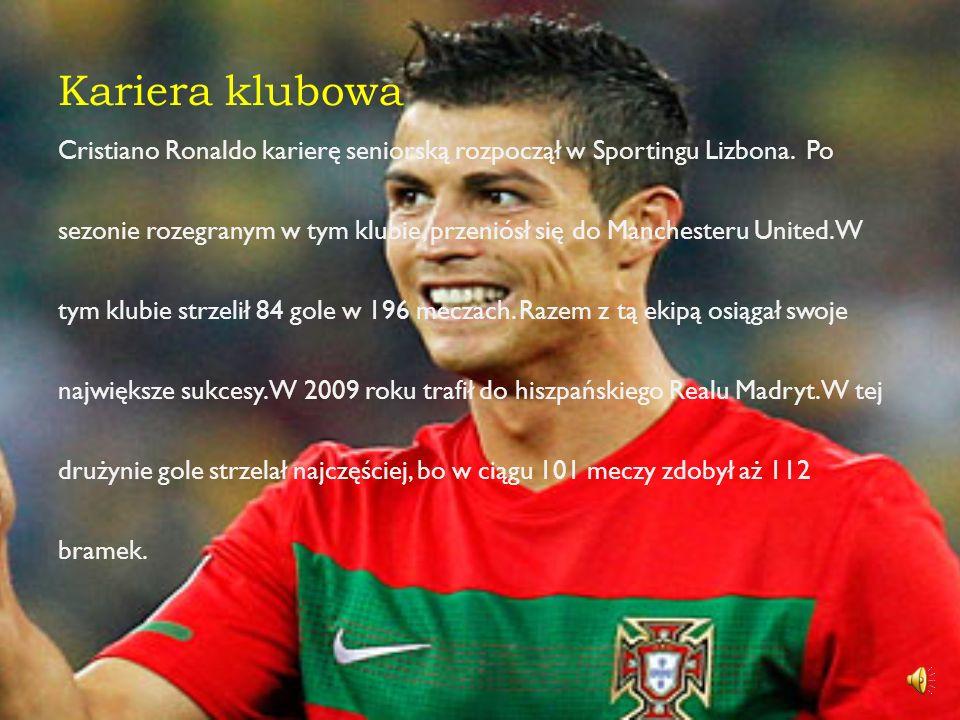 Reprezentacja W kadrze, Cristiano Ronaldo zadebiutował 20 sierpnia 2003 roku w meczu z Kazachstanem. Wystąpił na EURO 2004 i 2008 oraz na Mundialu 200