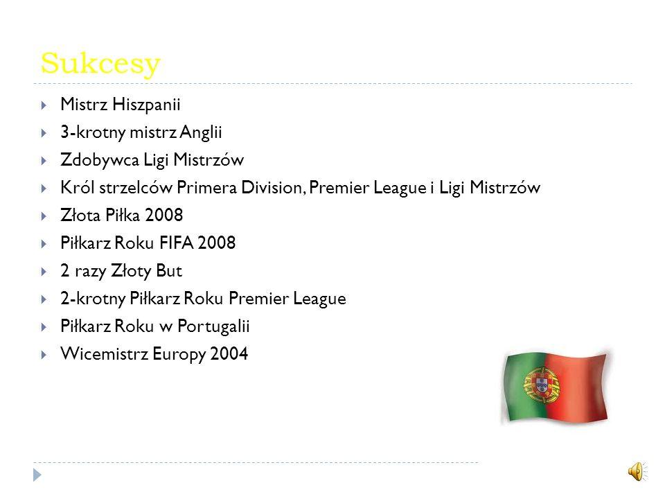 Sukcesy Mistrz Hiszpanii 3-krotny mistrz Anglii Zdobywca Ligi Mistrzów Król strzelców Primera Division, Premier League i Ligi Mistrzów Złota Piłka 2008 Piłkarz Roku FIFA 2008 2 razy Złoty But 2-krotny Piłkarz Roku Premier League Piłkarz Roku w Portugalii Wicemistrz Europy 2004