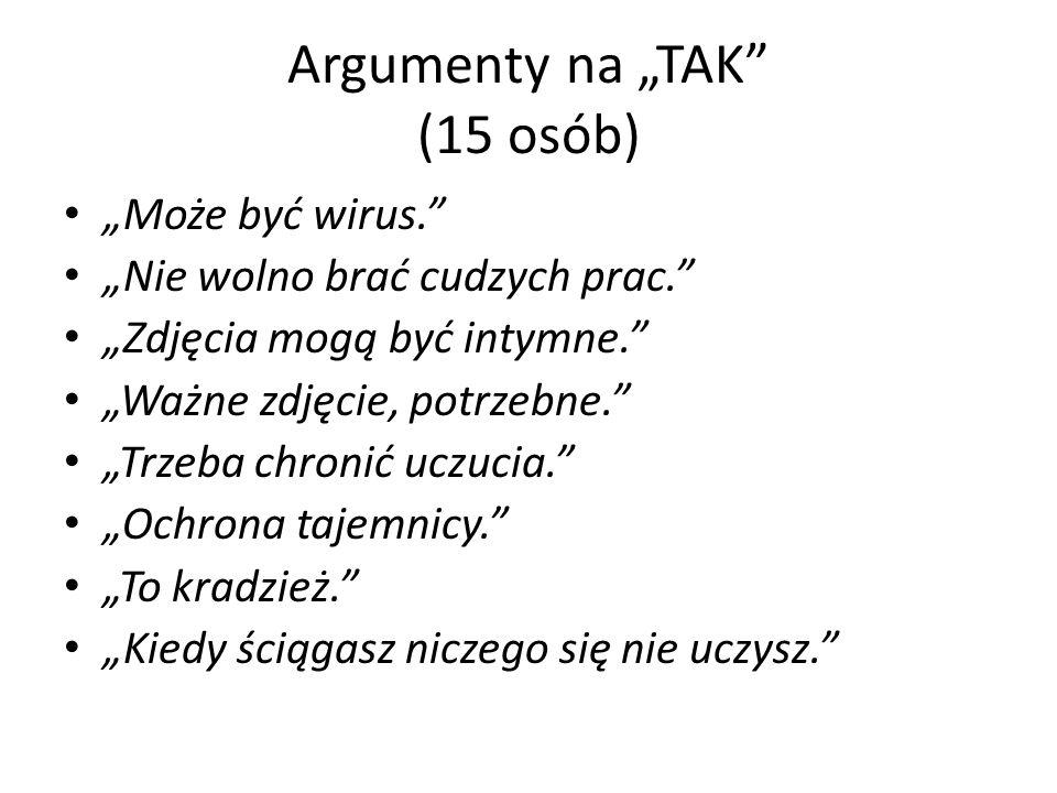 Argumenty na TAK (15 osób) Może być wirus. Nie wolno brać cudzych prac.