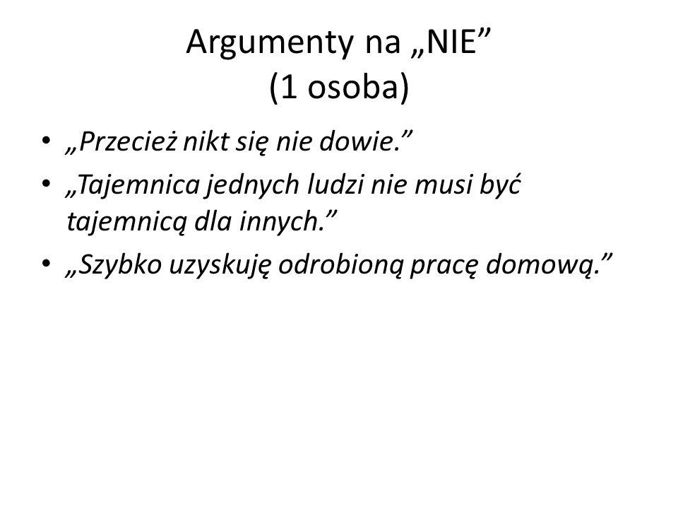 Argumenty na NIE (1 osoba) Przecież nikt się nie dowie.