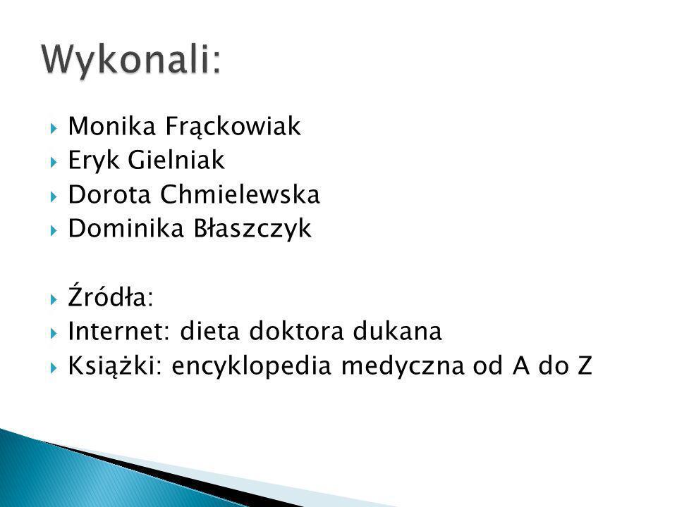 Monika Frąckowiak Eryk Gielniak Dorota Chmielewska Dominika Błaszczyk Źródła: Internet: dieta doktora dukana Książki: encyklopedia medyczna od A do Z