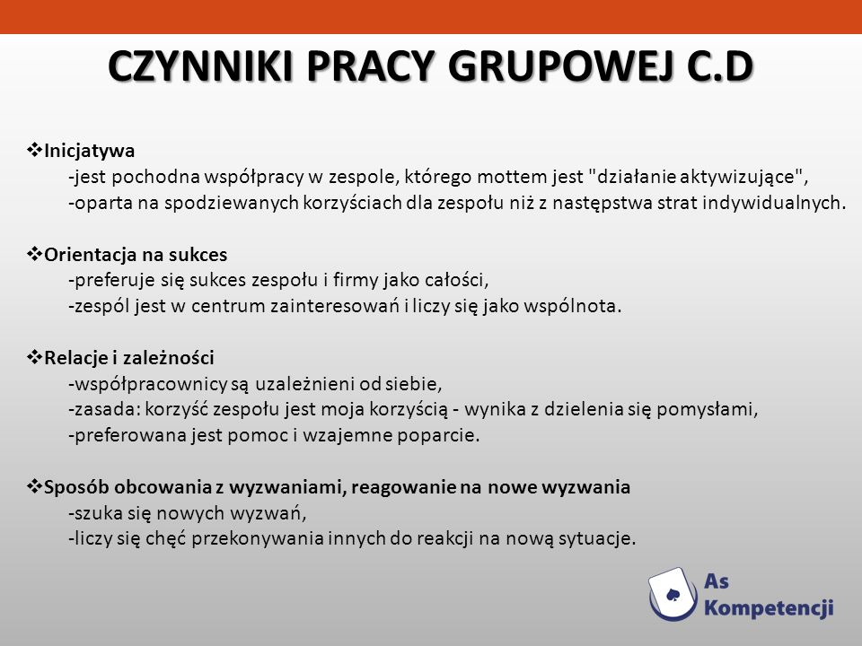 CZYNNIKI PRACY GRUPOWEJ C.D Inicjatywa -jest pochodna współpracy w zespole, którego mottem jest