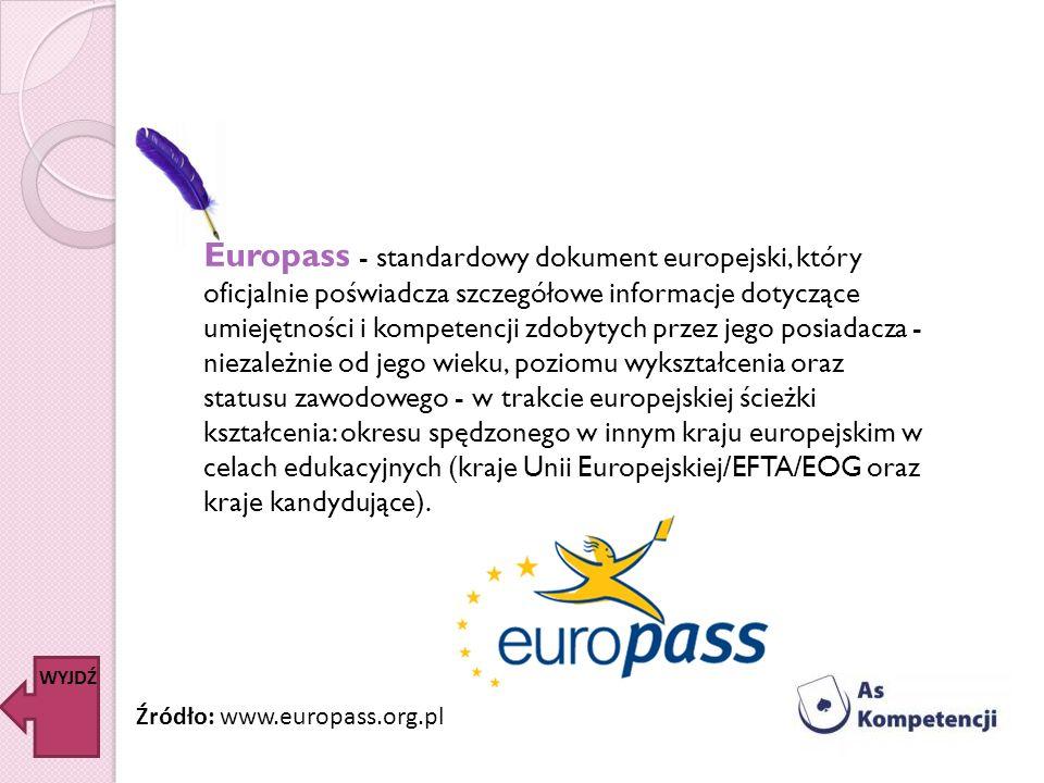 Europass - standardowy dokument europejski, który oficjalnie poświadcza szczegółowe informacje dotyczące umiejętności i kompetencji zdobytych przez je