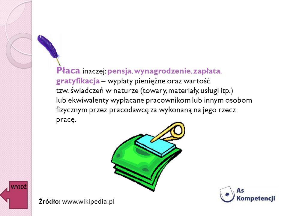 Płaca inaczej: pensja, wynagrodzenie, zapłata, gratyfikacja – wypłaty pieniężne oraz wartość tzw. świadczeń w naturze (towary, materiały, usługi itp.)