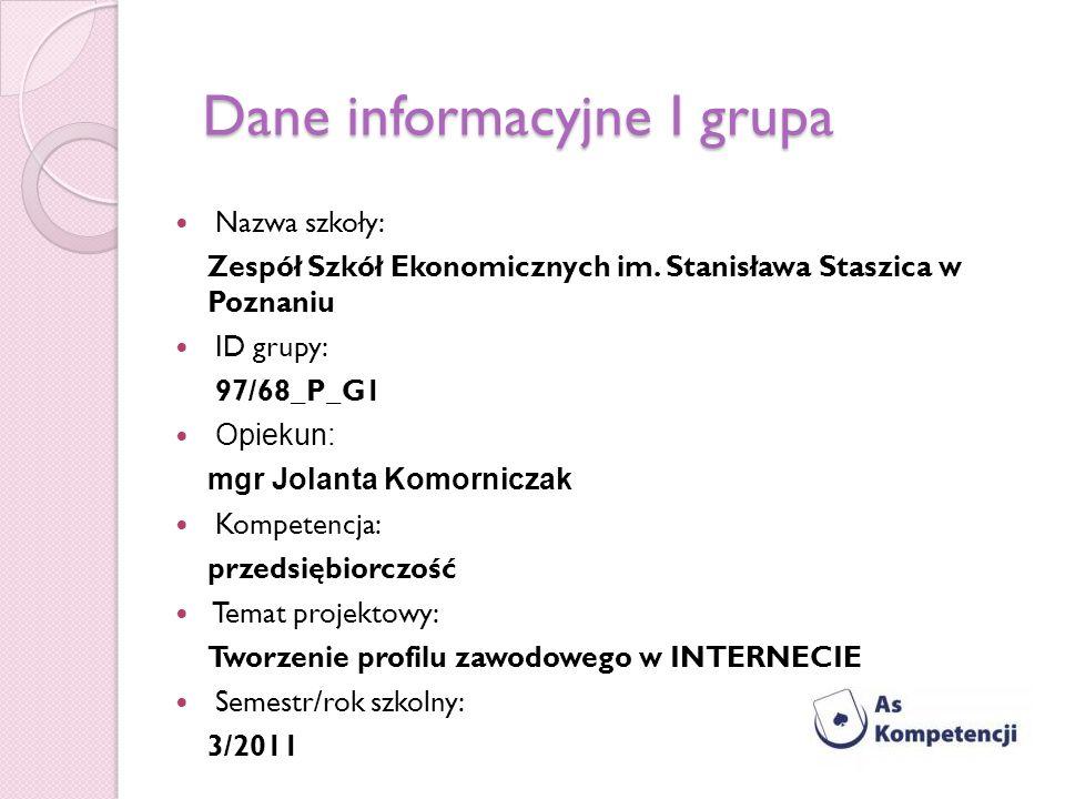 Dane informacyjne I grupa Nazwa szkoły: Zespół Szkół Ekonomicznych im. Stanisława Staszica w Poznaniu ID grupy: 97/68_P_G1 Opiekun: mgr Jolanta Komorn