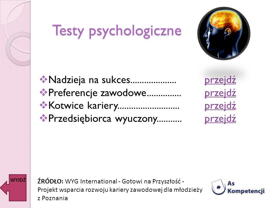 Testy psychologiczne Nadzieja na sukces.................... Preferencje zawodowe............... Kotwice kariery........................... Przedsiębio