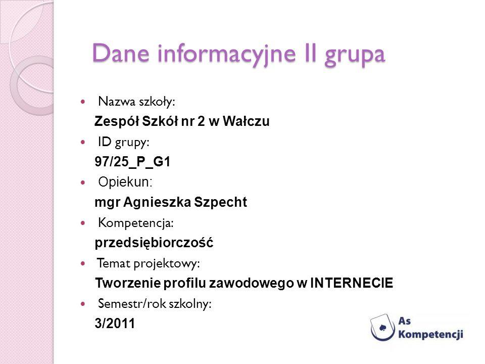 Dane informacyjne II grupa Nazwa szkoły: Zespół Szkół nr 2 w Wałczu ID grupy: 97/25_P_G1 Opiekun: mgr Agnieszka Szpecht Kompetencja: przedsiębiorczość