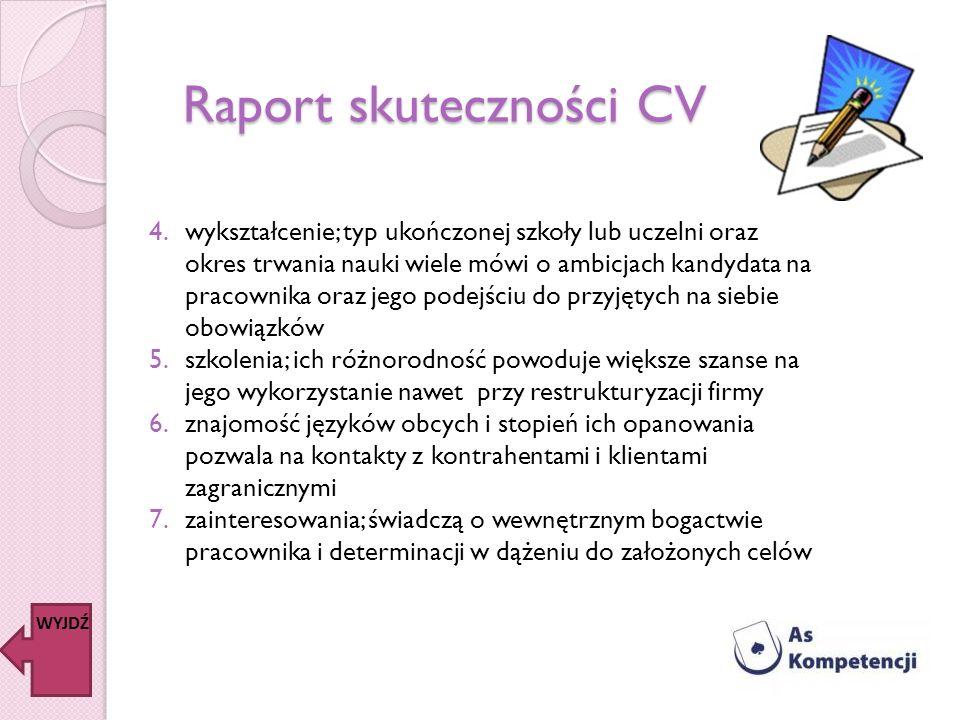 Raport skuteczności CV WYJDŹ 4.wykształcenie; typ ukończonej szkoły lub uczelni oraz okres trwania nauki wiele mówi o ambicjach kandydata na pracownik