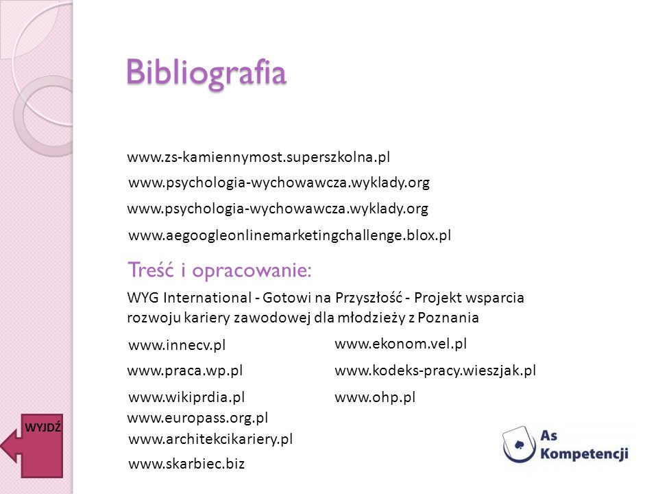 Bibliografia www.aegoogleonlinemarketingchallenge.blox.pl www.psychologia-wychowawcza.wyklady.org www.zs-kamiennymost.superszkolna.pl WYJDŹ Treść i op