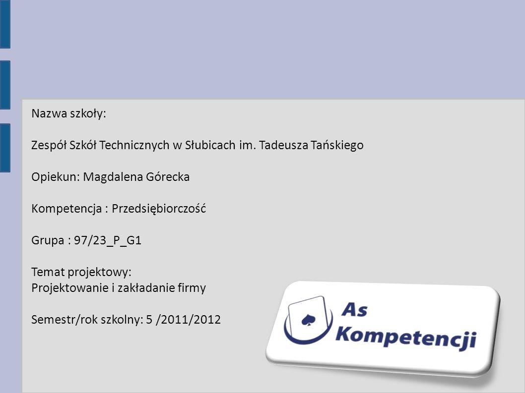 Nazwa szkoły: Zespół Szkół Technicznych w Słubicach im. Tadeusza Tańskiego Opiekun: Magdalena Górecka Kompetencja : Przedsiębiorczość Grupa : 97/23_P_