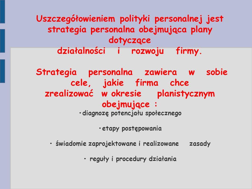 Uszczegółowieniem polityki personalnej jest strategia personalna obejmująca plany dotyczące działalności i rozwoju firmy. Strategia personalna zawiera