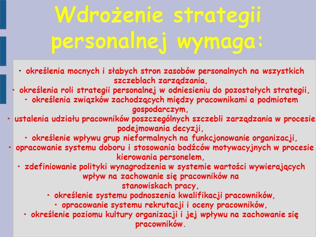 określenia mocnych i słabych stron zasobów personalnych na wszystkich szczeblach zarządzania, określenia roli strategii personalnej w odniesieniu do p