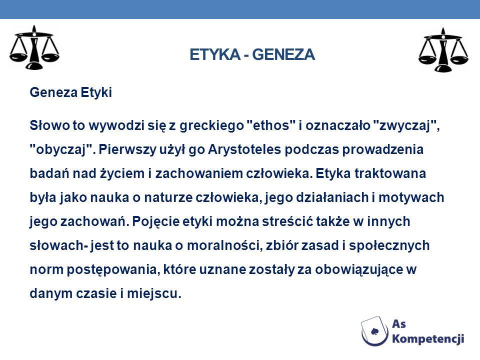 ETYKA - POJĘCIE Pojęcie etyki można streścić w słowach: nauka o moralności, zbiór zasad i społecznych norm postępowania, które uznane zostały za obowiązujące w danym czasie i miejscu.