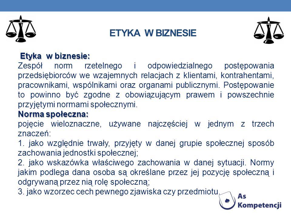 ETYKA W BIZNESIE Etyka w biznesie: Zespół norm rzetelnego i odpowiedzialnego postępowania przedsiębiorców we wzajemnych relacjach z klientami, kontrah