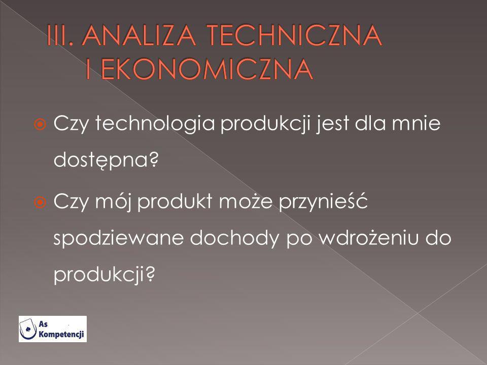 Czy technologia produkcji jest dla mnie dostępna? Czy mój produkt może przynieść spodziewane dochody po wdrożeniu do produkcji?
