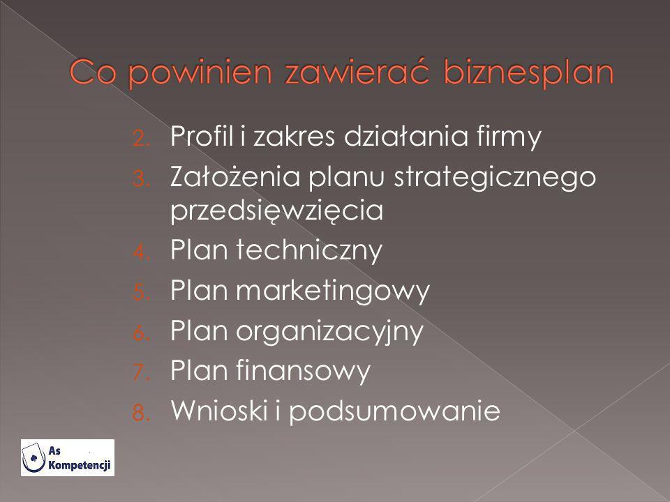 2. Profil i zakres działania firmy 3. Założenia planu strategicznego przedsięwzięcia 4. Plan techniczny 5. Plan marketingowy 6. Plan organizacyjny 7.