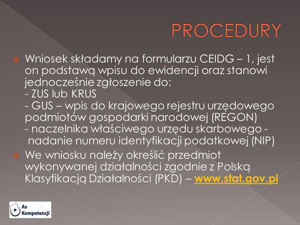 Wniosek składamy na formularzu CEIDG – 1, jest on podstawą wpisu do ewidencji oraz stanowi jednocześnie zgłoszenie do: - ZUS lub KRUS - GUS – wpis do