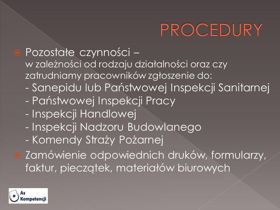 Pozostałe czynności – w zależności od rodzaju działalności oraz czy zatrudniamy pracowników zgłoszenie do: - Sanepidu lub Państwowej Inspekcji Sanitar