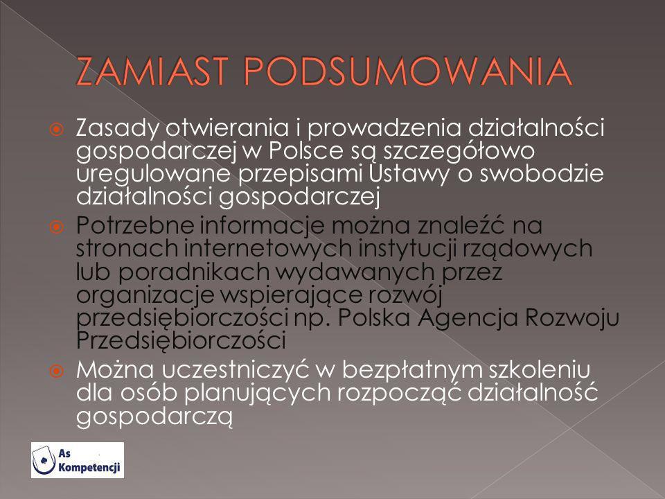 Zasady otwierania i prowadzenia działalności gospodarczej w Polsce są szczegółowo uregulowane przepisami Ustawy o swobodzie działalności gospodarczej
