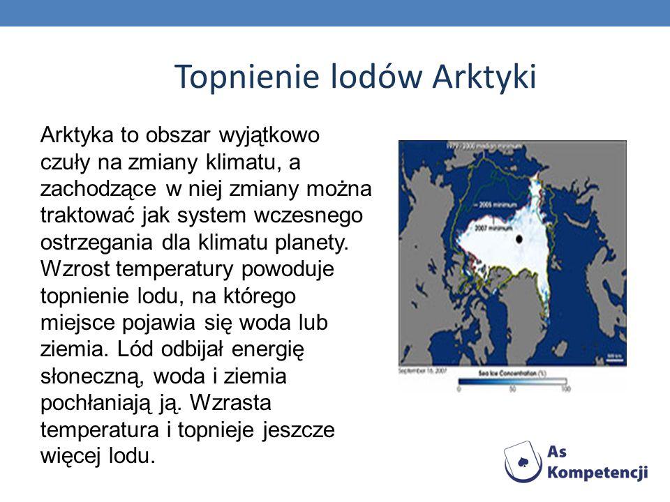 Topnienie lodów Arktyki Arktyka to obszar wyjątkowo czuły na zmiany klimatu, a zachodzące w niej zmiany można traktować jak system wczesnego ostrzegan