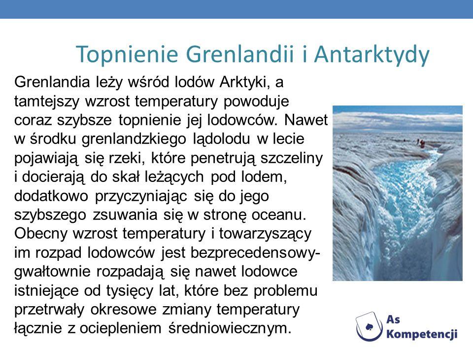 Topnienie Grenlandii i Antarktydy Grenlandia leży wśród lodów Arktyki, a tamtejszy wzrost temperatury powoduje coraz szybsze topnienie jej lodowców. N