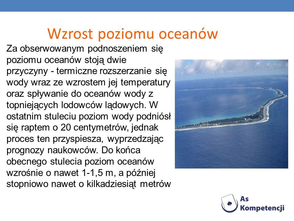 Wzrost poziomu oceanów Za obserwowanym podnoszeniem się poziomu oceanów stoją dwie przyczyny - termiczne rozszerzanie się wody wraz ze wzrostem jej te