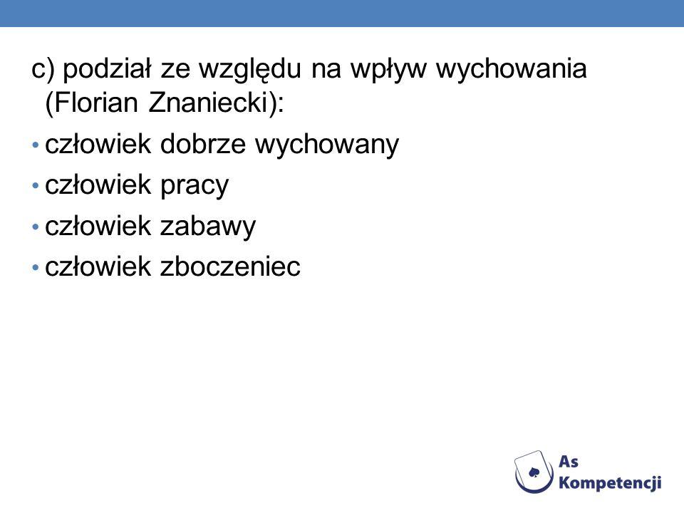 c) podział ze względu na wpływ wychowania (Florian Znaniecki): człowiek dobrze wychowany człowiek pracy człowiek zabawy człowiek zboczeniec