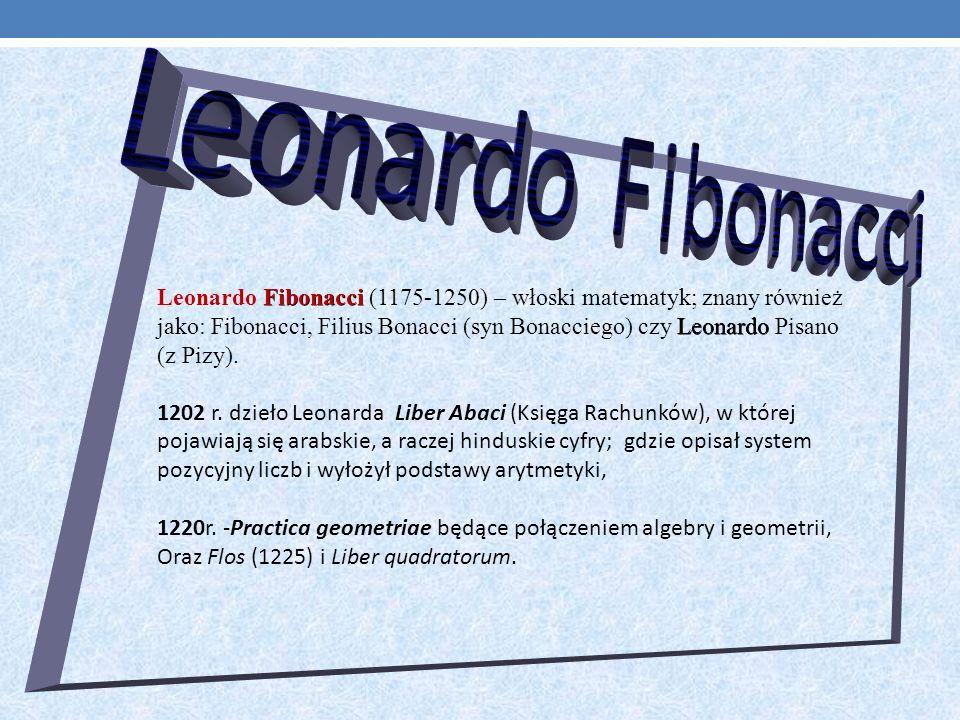 Fibonacci Leonardo Leonardo Fibonacci (1175-1250) – włoski matematyk; znany również jako: Fibonacci, Filius Bonacci (syn Bonacciego) czy Leonardo Pisano (z Pizy).