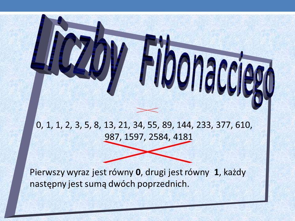 0, 1, 1, 2, 3, 5, 8, 13, 21, 34, 55, 89, 144, 233, 377, 610, 987, 1597, 2584, 4181 Pierwszy wyraz jest równy 0, drugi jest równy 1, każdy następny jest sumą dwóch poprzednich.