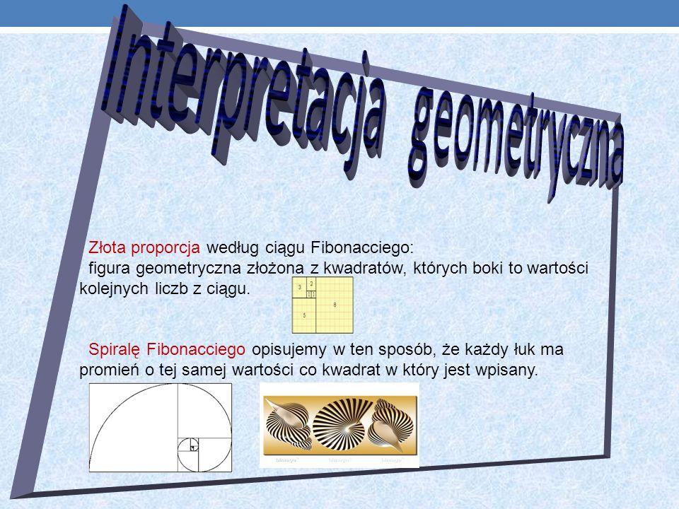 Złota proporcja według ciągu Fibonacciego: figura geometryczna złożona z kwadratów, których boki to wartości kolejnych liczb z ciągu.