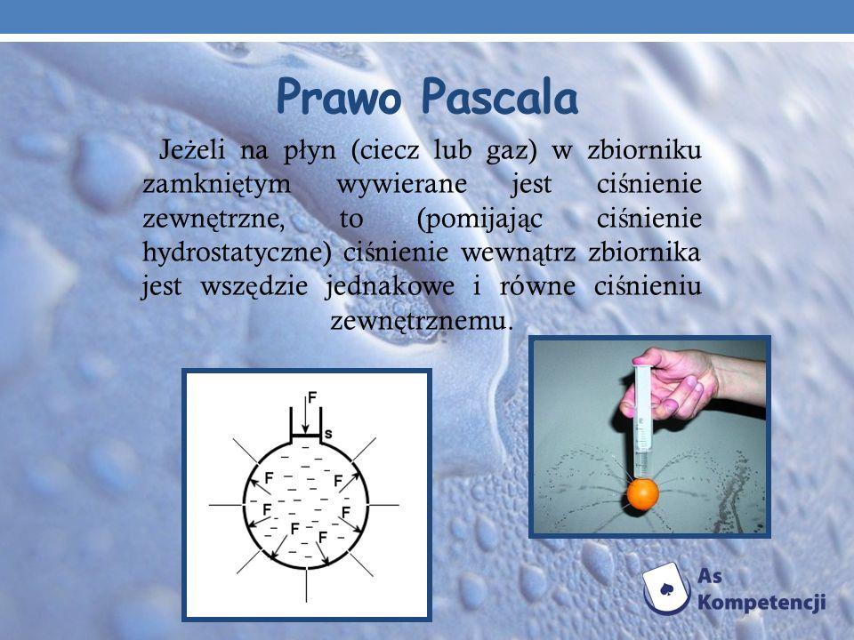 Prawo Pascala Je ż eli na p ł yn (ciecz lub gaz) w zbiorniku zamkni ę tym wywierane jest ci ś nienie zewn ę trzne, to (pomijaj ą c ci ś nienie hydrost