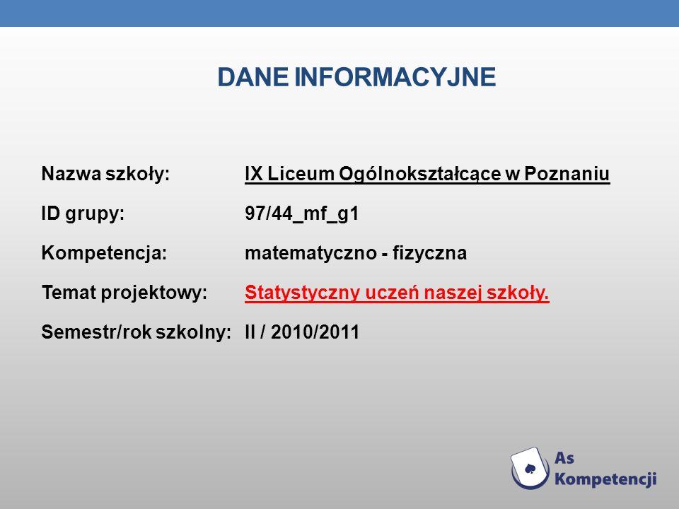 DANE INFORMACYJNE Nazwa szkoły: IX Liceum Ogólnokształcące w Poznaniu ID grupy:97/44_mf_g1 Kompetencja: matematyczno - fizyczna Temat projektowy: Stat