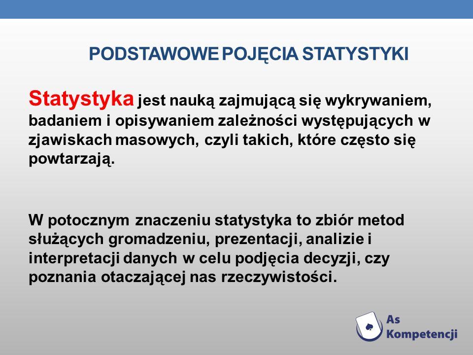 PODSTAWOWE POJĘCIA STATYSTYKI Statystyka jest nauką zajmującą się wykrywaniem, badaniem i opisywaniem zależności występujących w zjawiskach masowych,