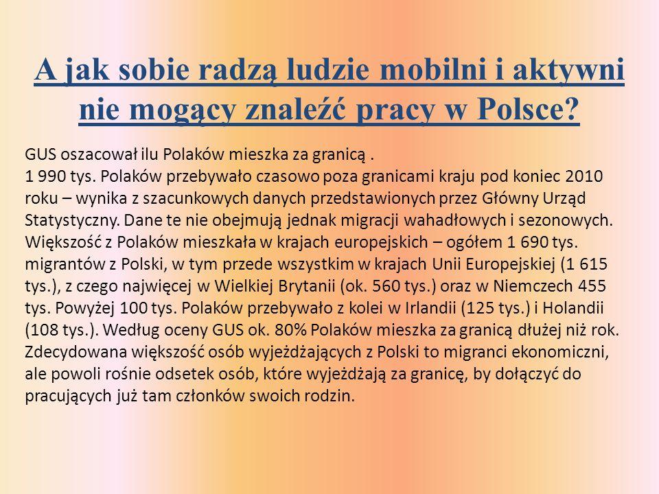 A jak sobie radzą ludzie mobilni i aktywni nie mogący znaleźć pracy w Polsce.