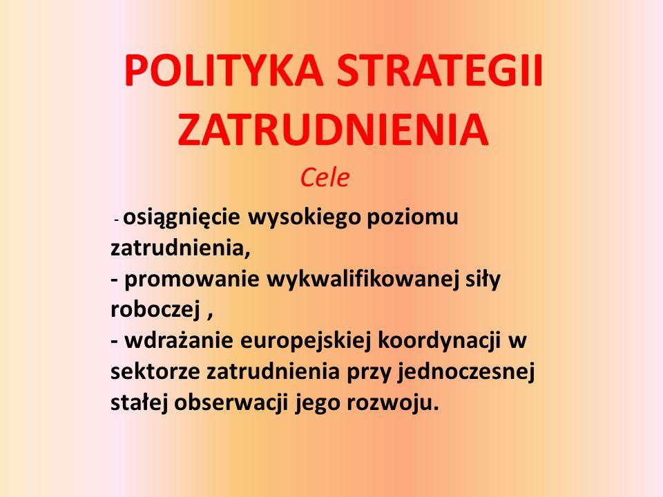 POLITYKA STRATEGII ZATRUDNIENIA Cele - osiągnięcie wysokiego poziomu zatrudnienia, - promowanie wykwalifikowanej siły roboczej, - wdrażanie europejskiej koordynacji w sektorze zatrudnienia przy jednoczesnej stałej obserwacji jego rozwoju.